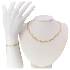Vintage 2-Tone Gold Faceted Bracelet and Necklace Jewelry Set