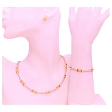 Vintage 14k Two Tone Gold Earring, Bracelet, Necklace Infinity Jewelry Set