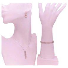 Vintage White Gold Fleur De Lis Pendant Necklace, Bracelet, and Earring Set