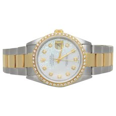 18k Gold and Stainless Rolex Datejust 16233 with Jubilee Dial and Diamond Bezel