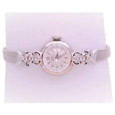 Art Deco 14k White Gold and Diamond Wyler Incaflex Ladies Timepiece