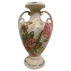 "Lovely Blue Ridge, Nova Rose 7 1/2"" Handled Vase"