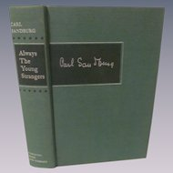 1953 Always the Young Strangers by Carl Sandburg, Memoirs, Publ Harcourt, Brace and Company