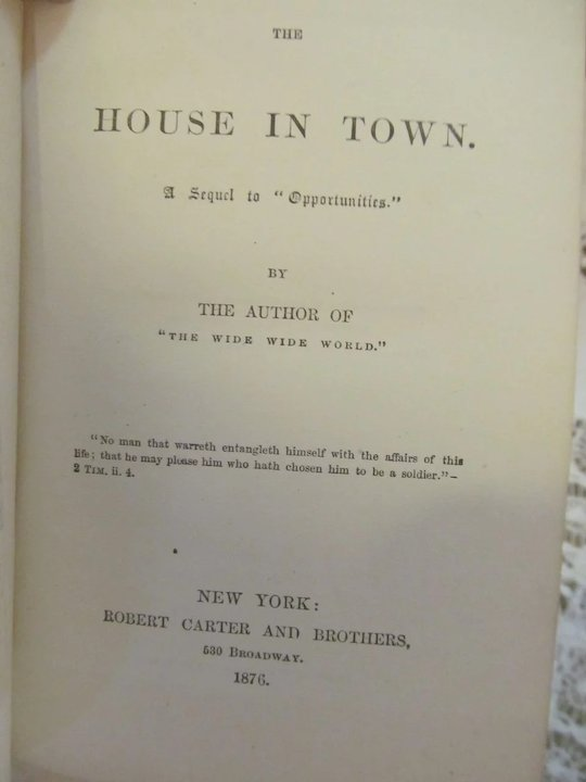 1876 The House In Town Sequel To Opportunities What She Could By
