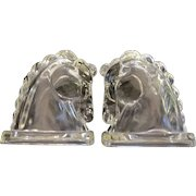 Trojan Horse Glass Bookends by Federal Glass Company