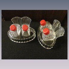 Pair Glass Salt Pepper Shaker Sets with Card Holder Trays, Red Bakelite Tops