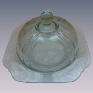 Madrid Recollections Teal Butter Cheese Dish by Indiana Glass Company