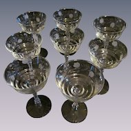 Libbey Halifax Rock Crystal Long Stem Wheel Cut Goblets