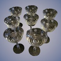 Libbey Rock Crystal Long Stem Wheel Cut Goblets