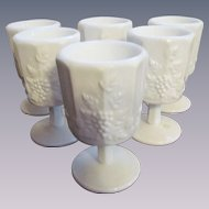 "Six Westmoreland Paneled Grape 5"" Goblets"
