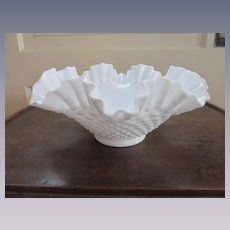 Fenton Hobnail Milk Glass Crimped Ruffled Bowl