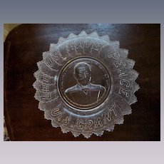 EAPG US Grant Bread Plate Platter with Motto Let Us Have Peace