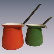 Enamelware Warming Pour Pots, Yugoslavia