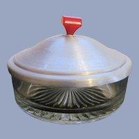 Powder Trinket Jar with Red Bakelite Handle