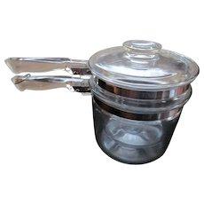 Pyrex Blue Tint Flame 1 1/2 Quart Double Boiler #6283