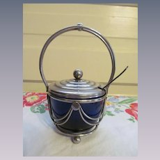 Cobalt Blue Relish Condiment Dish within Carrier and Spoon