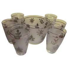 Libbey Silver Leaf Ice Bucket and Six Tumblers