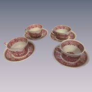 Four Adams Staffordshire England English Scene Mulberry Cup and Saucer Sets