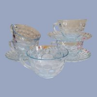 Blue Bubble 5 Cups 3 Saucers by Anchor Hocking