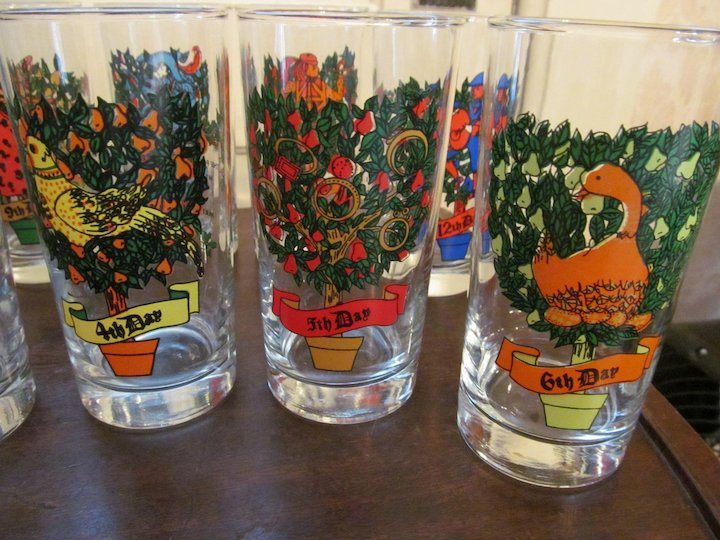 twelve days of christmas glasses tumblers by indiana glass company
