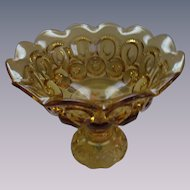 Moon and Star Golden Amber Footed Bowl Comport