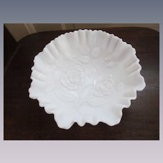 Imperial Open Rose Milk Glass Ruffled Crimped Bowl