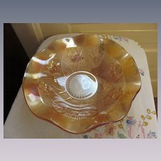 """Marigold Iris and Herringbone 11.5""""  Ruffled Bowl by Jeannette Glass Company"""