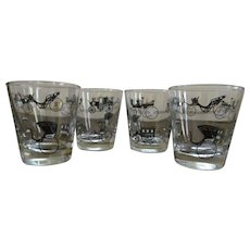 Four Horseless Carriage Buggy On the Rock Barware Tumblers by Libbey