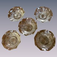 Five Iris and Herringbone Ruffled Berry Fruit Bowls by Jeannette Glass Company