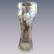 Tall Crystal Wheel Cut Corset Vase with Flowers & Foliage