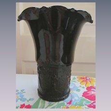 Black Amethyst Dancing Nymphs Tri Corner Vase, Circa 1937