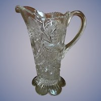 EAPG Advertising Store Promotional Pitcher, Let Hartman Feather Your Nest, Aztec Sunburst Pattern by McKee