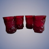 "Four Noritake Spotlight Ruby Red 3 5/8"" Tumblers"