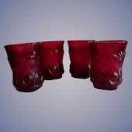 "Four Noritake Spotlight Ruby Red 3 5/8"" Tumblers"