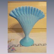 Diamond Optic Blue Satin Custard Fan Vase