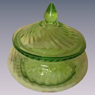 Hocking Spiral Green Depression Preserve Dish with Cover