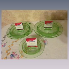 Three Green Depression Checker Board Ashtray Match Holders by Hazel Atlas