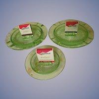 Three Green Depression Checker Board Ashtray Match Holders by Hazel Atlas