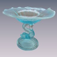 Blue White Opalescent Dolphin Compote Dish by LE Smith