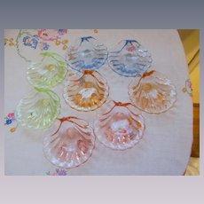Cambridge Caprice Eight Piece Shell Salts Nut Dish Set, Four Colors