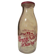 North Shore Dairy Pint Milk Bottle with Matching Lid, Chicago IL