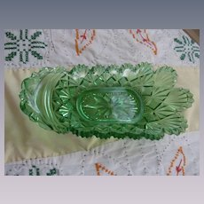 EAPG Pittsburg Fan Green Relish Dish
