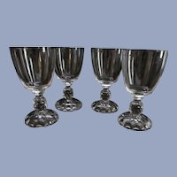 Four American Lady Plain Bowl Water Goblets by Fostoria
