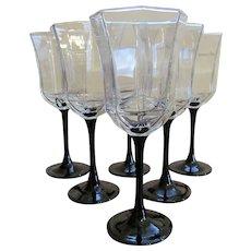 Six France Luminarc Octine Water Goblets, Black Stem