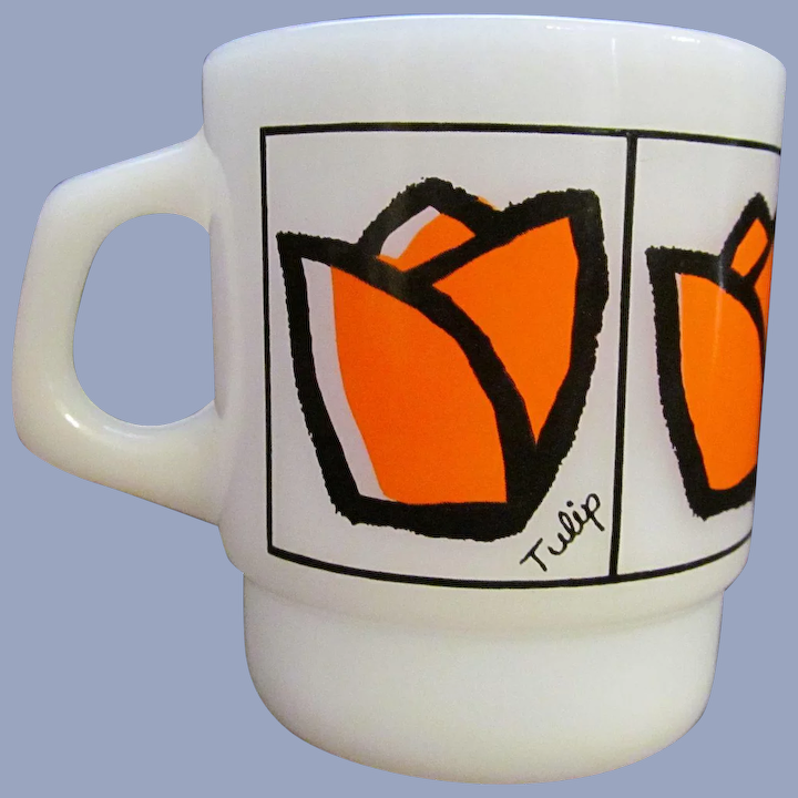 Fire King Hocking Orange Tulip Stackable Coffee Mug Prairieland