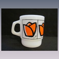 Fire King Hocking Orange Tulip Stackable Coffee Mug