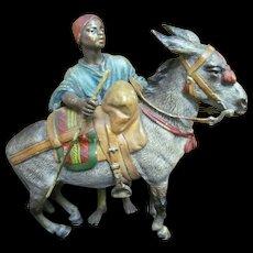 Franz Bergmann Vienna Bronze Statue Figurine, Young Man with Mule Donkey, Marked