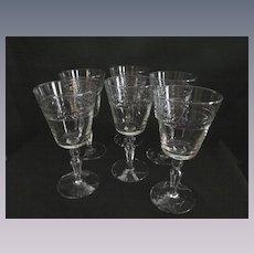 Six Libbey Laurel Weath 8oz Goblets, Star of David Foot