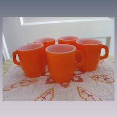 Five Fire King Orange Stackable Mugs, Hocking