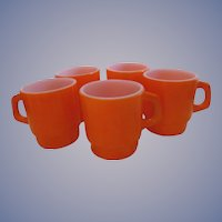 Five Fire King Orange Stackable Mugs, Hocking